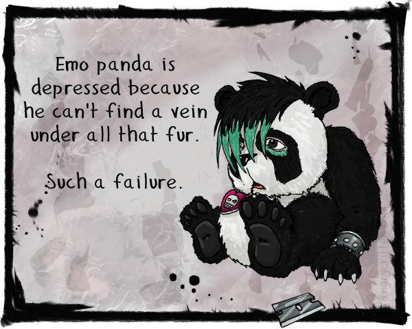 Emo panda can't find a vein. What a failure.